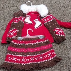 Gymboree winter outfit skirt, vest and top